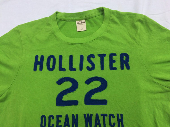 Remera Hollister Original Hombre,talle L,cotton Color Verde