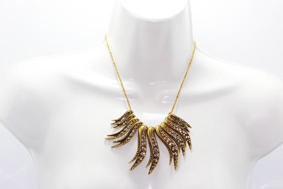 Collar Moda Dama Mujer Dorado Cristales Cc157