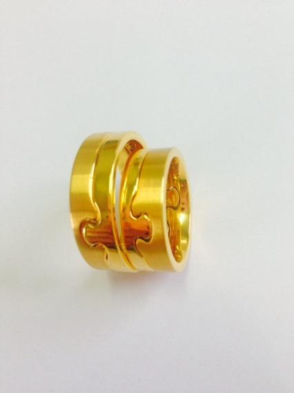 Aliança Par Tungstênio Dourada 18k Coração E Alma