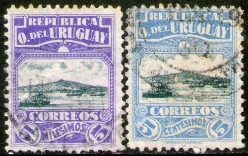 Imagen 1 de 1 de Uruguay Serie X 2 Sellos Barcos En Puerto Montevideo 1919-20