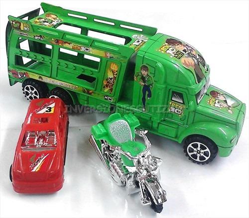Camion Plastico Juguete Para Niño Ben10 Gandola Moto Y Carro