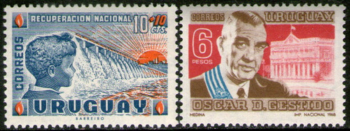 Imagen 1 de 1 de Uruguay 2 Sellos Mint Dique = Niño = Presidente Años 1959-68