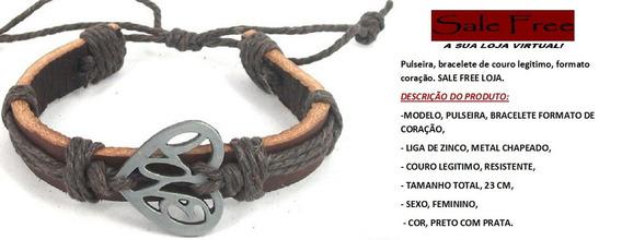 Pulseira, Bracelete De Couro Legitimo, Formato Coração.