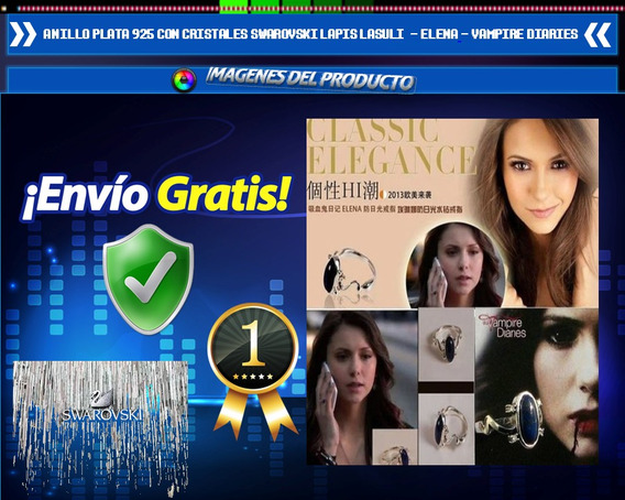 Anillo Plata 925 Swarovski Lapislazuli Vampire Diaries Elena