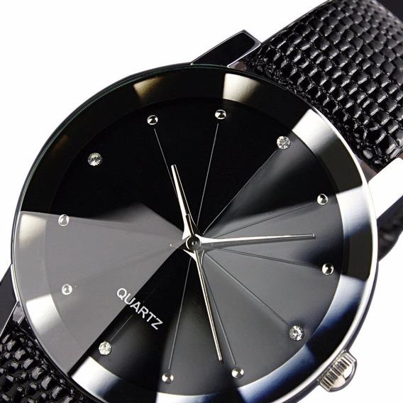 Relógio Casual Pulseira De Couro Preta Quartz