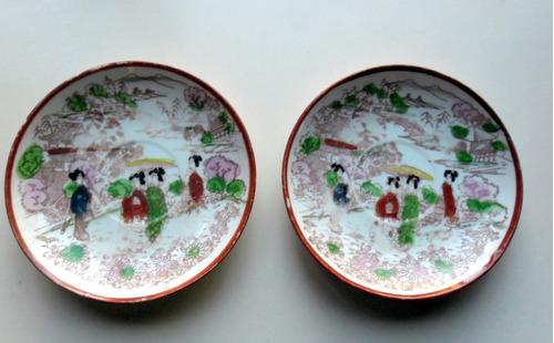 #25.  Platos De Porcelana Con Motivos Chinescos