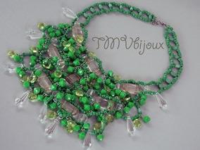 Maxi Colar Verde Com Pedrarias E Miçangas