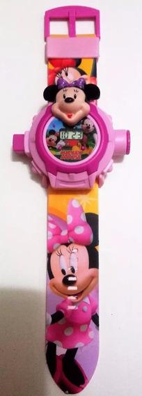 Relógio Com Projetor De Luz Minnie Rosa 24 Imagens Infantil