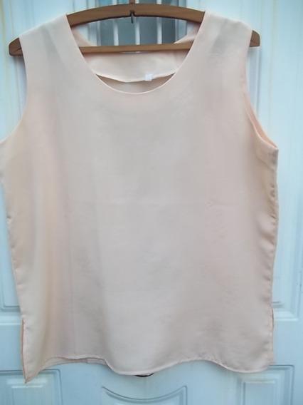 Remera Musculosa Dama Seda Polyester Talle 3 Color Durazno
