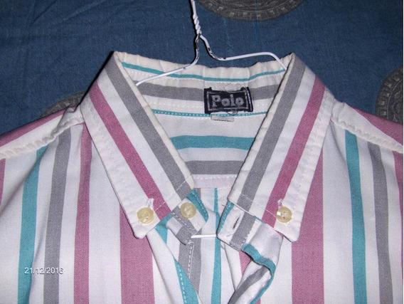 Camisa Manga Larga A Rayas Talla L Marca Polo