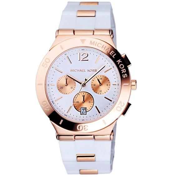 Relógio Michael Kors Mk5935 Wyatt Orig Chron Anal Gold Rosé