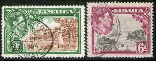 Jamaica 2 Sellos Usados Cosechando Limones = Río Año 1938