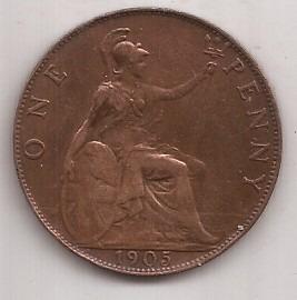 Gran Bretaña Moneda De 1 Penny Año 1905 Exc