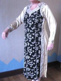 Hermoso Vestido Indú Aplicaciones Bordadas