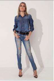 Calça Jeans Feminina Fenda Lateral Morena Rosa Ref. 203013