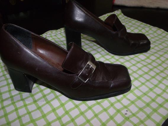 Zapatos De Mujer Ladybug C/taco Chocolate Excelente Estado!