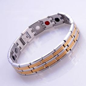 Bracelete Pulseira Em Titânio C/ Células Magnéticas