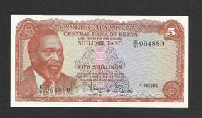Quênia 5 Shillings 1976 P. 11c Fe Cédula - Tchequito