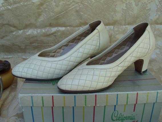 Zapatos Finisimos California N 35 Color Negros Y Manteca(91)