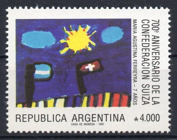 Argentina 1991 Gj 2549** Mint 700 Años Confederación Suiza A