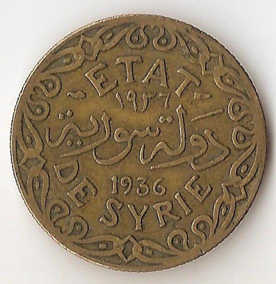 Siria Francesa, 5 Piastres, 1936. Vf / Vf+