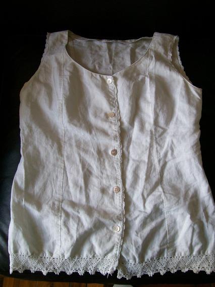 Camisa Sin Mangas Blanca Marca Gina Buti - Talle M