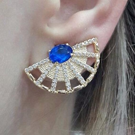 Brinco Ear Cuff Com Pedra Natural Azul Folheado Em Ouro 18k