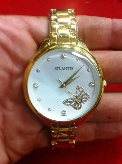 Relogio Atlantis G3300 Dourado Feminino Lindo Borboleta