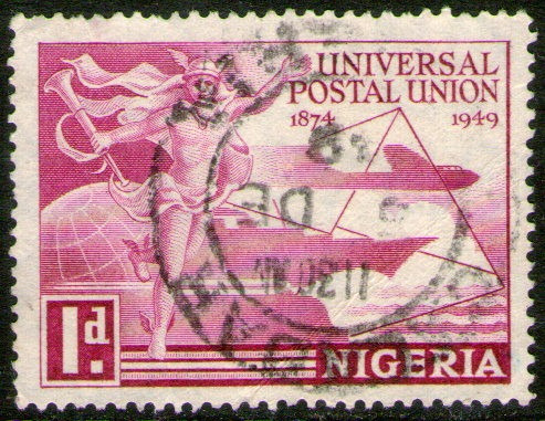 Nigeria Sello Usado 75° Unión Postal Universal Año 1949