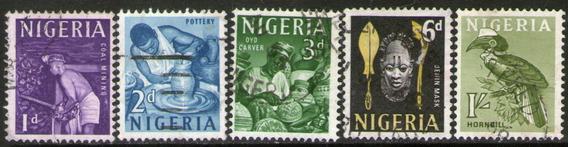 Nigeria Serie X 5 Sellos Usados Mina De Carbón = Tucán 1961