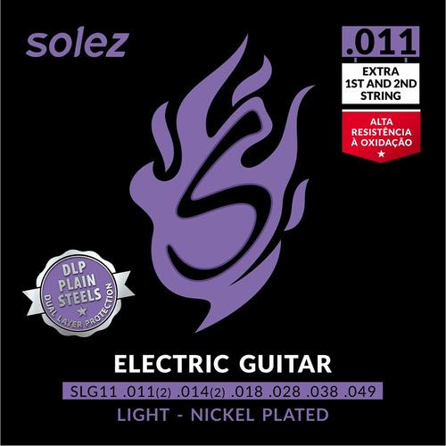Imagem 1 de 3 de Encordoamento P/ Guitarra Solez 011 C/ 2 Cordas Extra