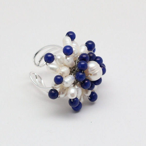 Anel Divanet Pérolas Naturais E Pedra Jade Azul - Importado