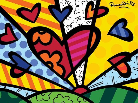 Romero Britto Poster Grande Foto 60cmx80cm Obra Um Novo Dia