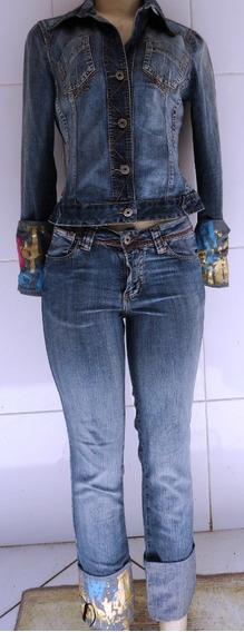 Jaqueta E Calça Jeans Tamanho P Veste 38 Conjunto