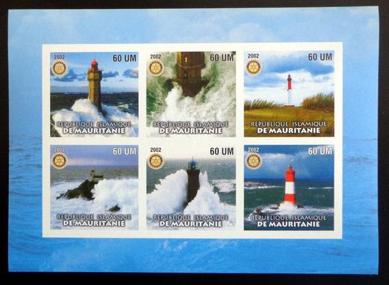 Mauritania Faros, Bloque 6 Sellos S Dentar 2002 Mint L7508