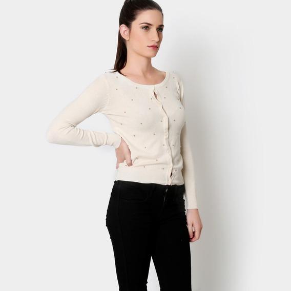 Cardigan Sweater Beige Moda Japonesa Adornos Dorados S #176