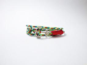 Pulseiras Bracelete Masculina Três Voltas Âncora De Metal