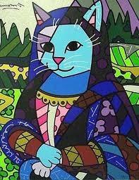 Mona Cat - Releitura Romero Britto 70x100cm Pintado A Mão