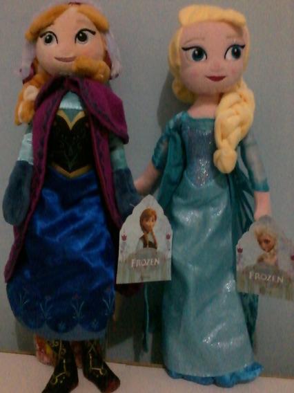 Kit 2 Bonecas Pelúcia Frozen Anna Elsa 40cm Pronta Entrega