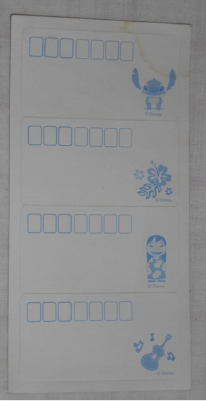 Lilo & Stitch Cartela De Adesivos P/endereço Japonesas S/uso