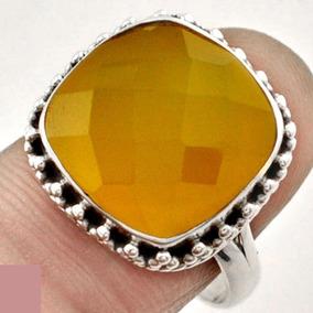 Maravilhoso Anel De Prata 925 Com Calcedônia Amarela Aro19