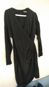 Vestido Wraps De Seda Negro Talla 42