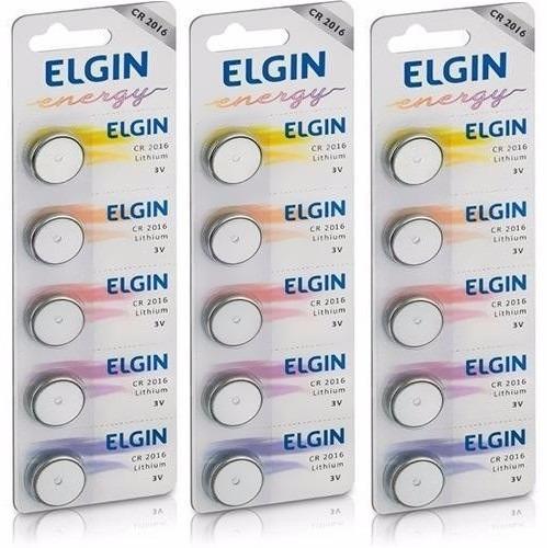 3 Cartelas C/5 Un. Bateria Elgin Cr2016 3v Elgin Calc/pilhas