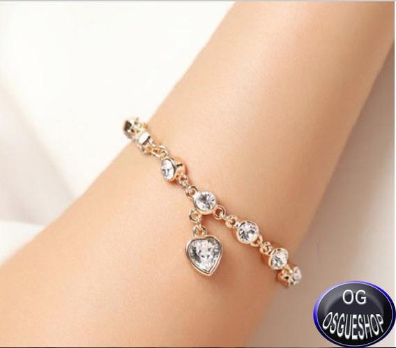 Linda Pulseira Bracelete Banhada A Ouro Cristal Strauss