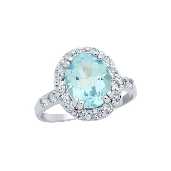 Oval-cut Genuine Sky Blue Topaz Ring With Large White Topaz