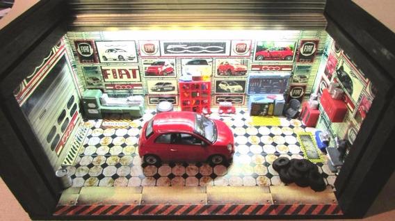 Garagem Diorama Com Luz Fiat 500