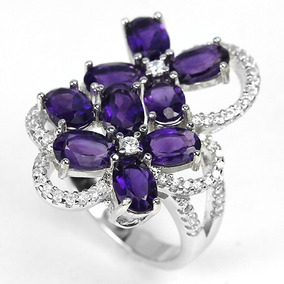 Anel Prata 925 Pedra Ametista Purpura E Zirconias