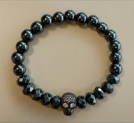 Pulseira Pedra Conta Crystal Pingente Caveira/skull Strass