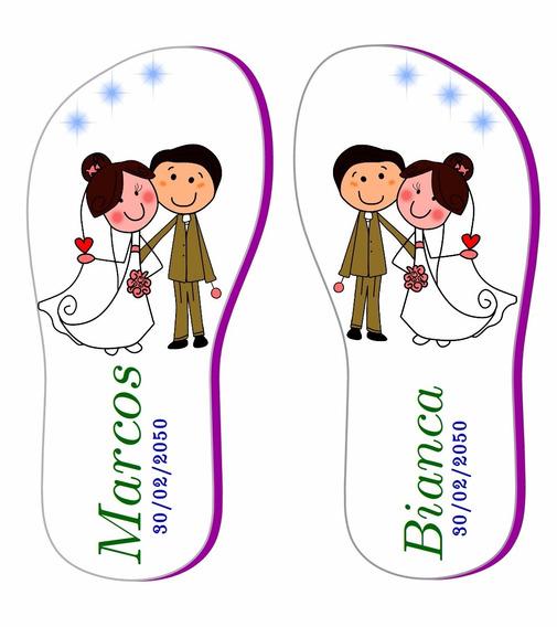 Chinelos Estampados Para Casamento 50 Pares