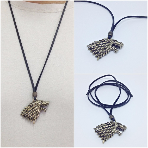 Colar Masculino Couro Lobo Game Of Thrones Casa Stark
